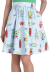 Arthro-mod Skirt - Blue, Print with Animals, Casual, Quirky, Spring, Cotton, Woven, Mid-length, Blue, Ballerina / Tutu