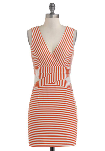 Ferry Fete Dress - Sheer, Short, White, Stripes, Cutout, Girls Night Out, Bodycon / Bandage, Tank top (2 thick straps), V Neck, Orange, Party, Mini, Summer