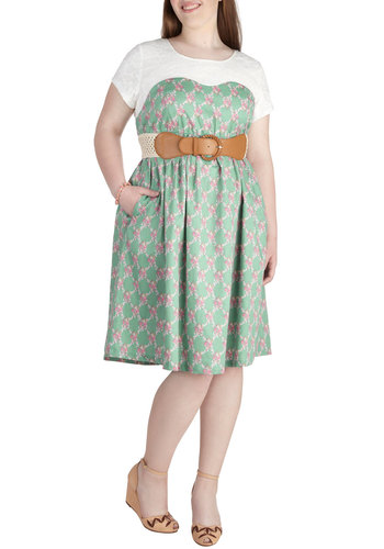 Lattice and Lace Dress in Plus Size - Cotton, Floral, Lace, Daytime Party, Green, Pink, White, Pockets, Belted, Casual, A-line, Short Sleeves, Spring, Summer, Scoop, Mint, Exclusives