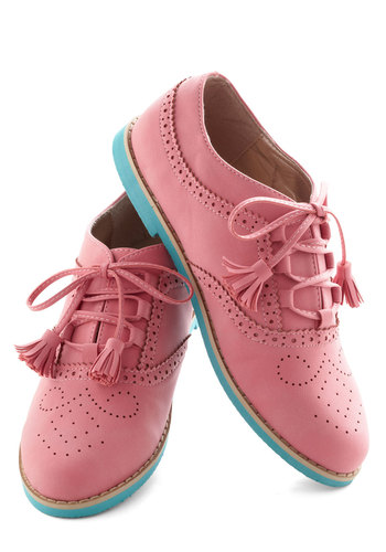 I Get a Kick Shoe - Pink, Blue, Tassles, Menswear Inspired, Colorblocking, Flat, Lace Up, Spring