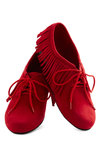 Pizzazz It Up Flat - Red, Solid, Fringed, Boho, Flat, Lace Up, Faux Leather, Casual, Vintage Inspired, 70s, Travel, Winter