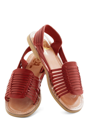 Deck Designer Sandal in Red - Tan, Multi, Beach/Resort, Summer, Flat, Leather
