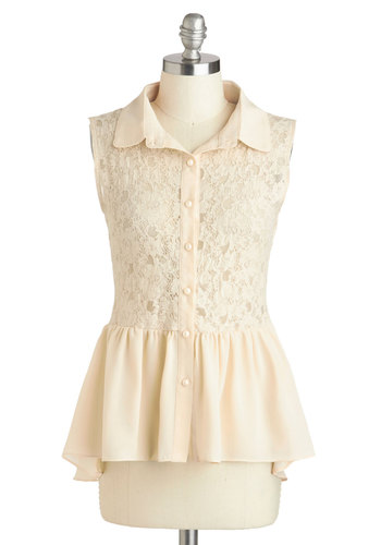 Library Regular Top - Cream, Buttons, Lace, Work, Peplum, Sleeveless, Collared, Sheer, Mid-length, White, Sleeveless
