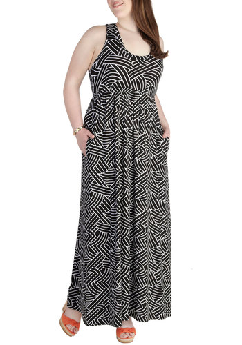 Frequency What I Mean? Dress in Black Maze - Plus Size - Jersey, Black, White, Print, Pockets, Casual, Maxi, Racerback, Scoop, Daytime Party, Beach/Resort, Summer, Variation, Exclusives