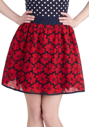 Fancy Flora Skirt - Short, Cotton, Red, Floral, Daytime Party, Summer, Ballerina / Tutu, Red, Top Rated