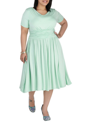 Augusta of Honor Dress in Mint - Plus Size - Mint, Solid, Ruching, Casual, Short Sleeves, Scoop, Work, Daytime Party, Pastel, A-line, Jersey, Variation, Exclusives