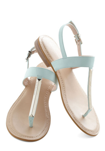 Mint to Shine Sandal - Silver, Beach/Resort, Luxe, Summer, Low, Faux Leather, Mint, Solid, Daytime Party, Flat