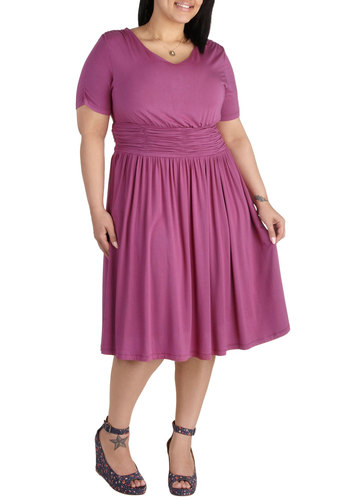 Augusta of Honor Dress in Berry - Plus Size - Purple, Solid, Ruching, Casual, A-line, Short Sleeves, Scoop, Work, Daytime Party, Jersey, Variation, Exclusives