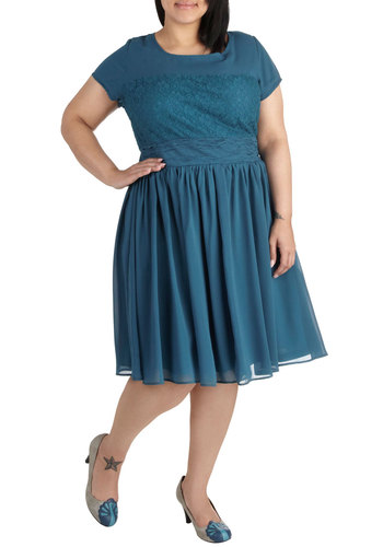 Chanteuse of a Kind Dress in Plus Size - Blue, Solid, Lace, Ruching, Party, A-line, Short Sleeves, Scoop, Variation