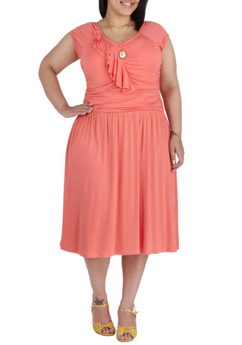 Speech Team Queen Dress in Plus Size - Coral, Solid, Ruffles, Ruching, Party, A-line, Cap Sleeves, Scoop, Daytime Party, Exclusives