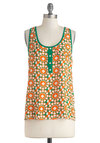 Mosaic to My Ears Top - Green, Orange, White, Buttons, Trim, Sleeveless, Sheer, Mid-length, Boho, Summer, Travel, Orange, Sleeveless