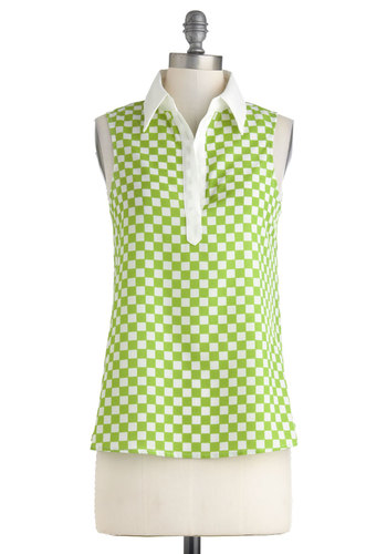 Record Story Top - Green, White, Checkered / Gingham, Casual, Sleeveless, Mid-length, Vintage Inspired, 60s, Spring, Summer