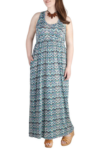 Frequency What I Mean? Dress in Multicolor Zags - Plus Size