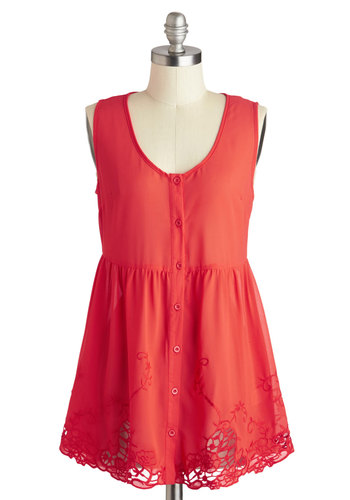Fresh Off the Vine Top - Mid-length, Red, Solid, Buttons, Crochet, Casual, Sleeveless, Summer, Travel, Red, Sleeveless