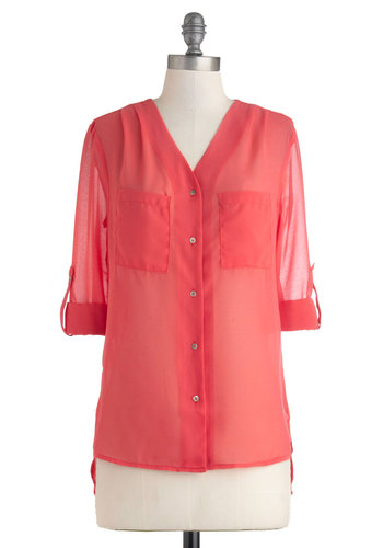 Sheer Skies Top - Orange, Pink, Solid, Buttons, Pockets, Long Sleeve, Sheer, Mid-length, Work, Pink, Tab Sleeve