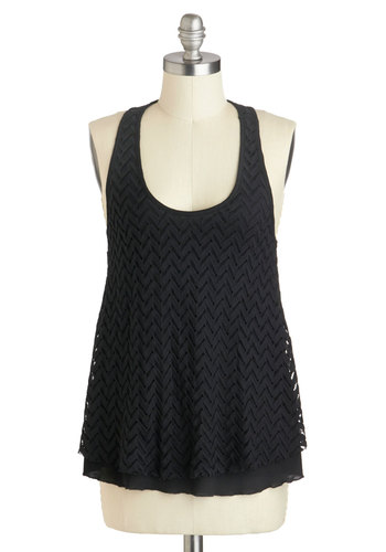 Raven About It Top - Mid-length, Black, Chevron, Knitted, Casual, Tank top (2 thick straps), Racerback, Minimal, Summer, Travel, Top Rated, Black, Sleeveless