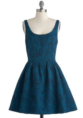 Easy as Blueberry Pie Dress by Jack by BB Dakota - Blue, Paisley, Pockets, Party, Fit & Flare, Tank top (2 thick straps), Scoop, Cocktail, Vintage Inspired, Mid-length, Woven