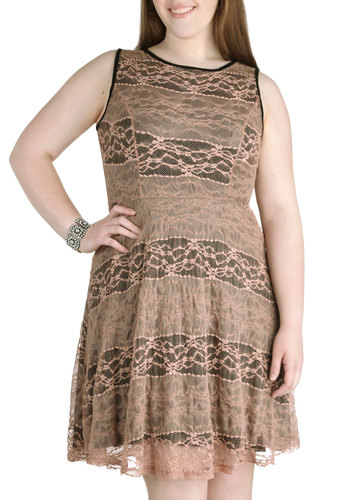 Let It Be Stone Dress in Sandstone - Plus Size - Tan, Black, Lace, Party, A-line, Sleeveless, Scoop, Wedding, Variation, Summer, Exclusives