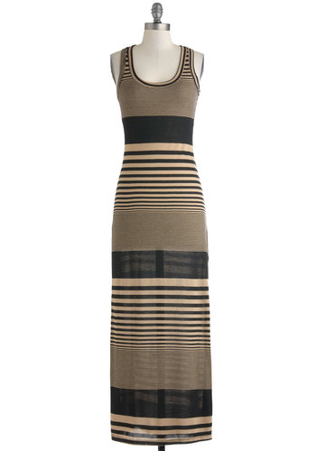 Day Off and Running Dress - Tan, Stripes, Casual, Maxi, Racerback, Scoop, Summer, Long, Black, Fall
