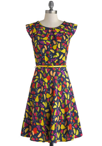 Cabana Cocktails Dress - Blue, Multi, Novelty Print, Cutout, Belted, Party, Fruits, A-line, Scoop, Summer, Mid-length