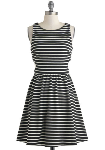 Notch above the Competition Dress - Black, White, Stripes, Cutout, Casual, A-line, Sleeveless, Crew, Spring, Mid-length