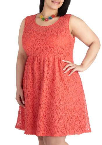 Dainty Dally Dress in Coral - Plus Size - Coral, Lace, Graduation, Bridesmaid, Vintage Inspired, Sleeveless, Short, Solid, Wedding, Party, A-line, Scoop, Variation, Daytime Party, Summer