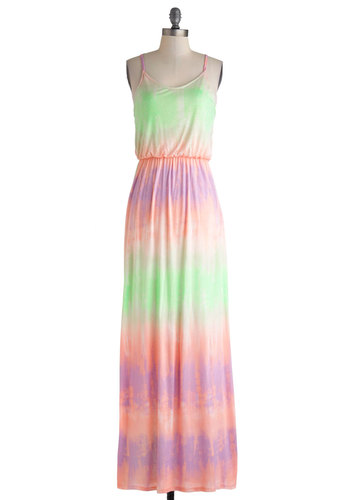 Bay at Sunset Dress - Long, Green, Purple, Pink, Cutout, Casual, Maxi, Spaghetti Straps, Scoop, Multi, Tie Dye, Beach/Resort