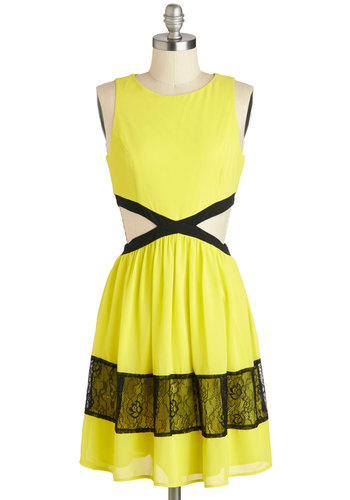 Neon Top of the World Dress - Yellow, Black, Cutout, Lace, Party, A-line, Sleeveless, Scoop, Girls Night Out, Summer, Mid-length, Neon, Sheer