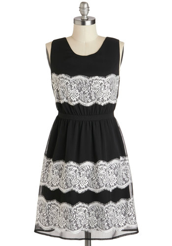 A Midnight Moment Dress - Black, White, Lace, Party, A-line, Sleeveless, Scoop, Mid-length