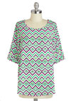 The Good Old Maze Top - Mid-length, Multi, Green, Pink, Black, White, Chevron, Casual, Short Sleeves, Scoop