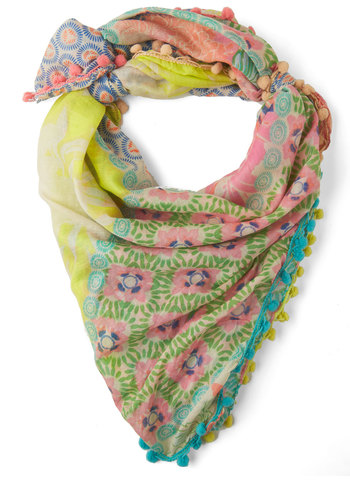 Glowing Ever Fonder Scarf - Cotton, Print, Trim, Casual, Multi, Green, Pink, Statement, Festival