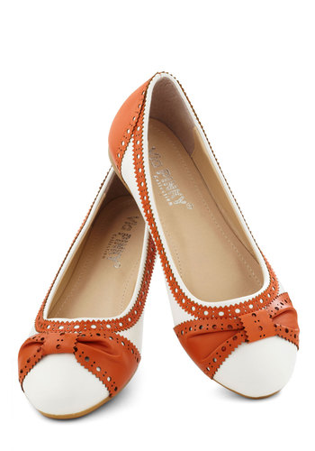 How About Wow? Flat in Terracotta - Menswear Inspired, Flat, Faux Leather, Brown, White, Solid, Cutout, Variation, Top Rated