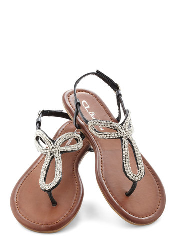 Loop And See Sandal - Black, Rhinestones, Luxe, Statement, Summer, Flat, Faux Leather, Silver, Beads, Daytime Party, Beach/Resort