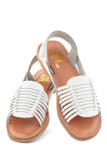 Deck Designer Sandal in White - White, Solid, Beach/Resort, Summer, Flat, Leather, Woven, Casual, Variation