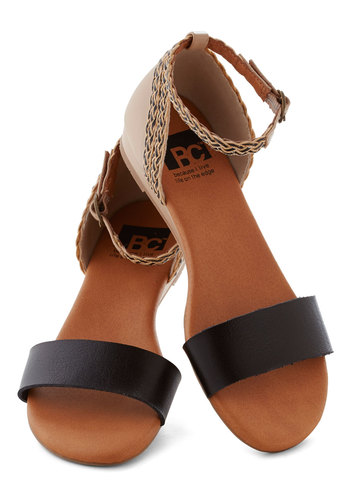 Lakeview Lodge Sandal in Black by BC Shoes - Low, Black, Braided, Beach/Resort, Colorblocking, Summer, Wedge, Tan / Cream, Solid, Casual, Faux Leather, Variation