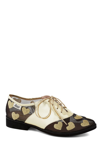 Rachel Antonoff for Bass Golden Anniversary Shoe by Bass - Black, Gold, Print, Menswear Inspired, Lace Up, Quirky, Low, Leather