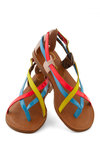 Pleasing to the Island Sandal - Blue, Multi, Solid, Colorblocking, Strappy, Flat, Leather, Summer