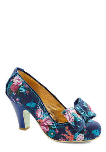 Storybooking It Heel by Irregular Choice - Blue, Floral, Bows, Mid, Leather, Wedding, Party, Vintage Inspired