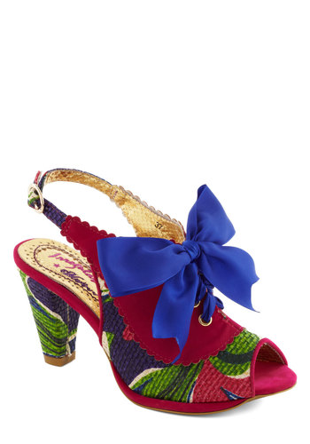 Resort Reunion Heel by Irregular Choice - Pink, Print, Bows, Slingback, Mid, Faux Leather, Vintage Inspired, Luxe, Statement, Daytime Party