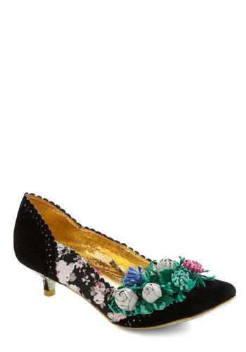 Black and Bloom Heel by Irregular Choice - Black, Floral, Flower, Mid, Leather, Suede, Party