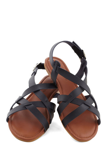 Fell for Sanibel Sandal in Black - Flat, Black, Solid, Summer, Faux Leather, Casual, Beach/Resort, Strappy, Variation