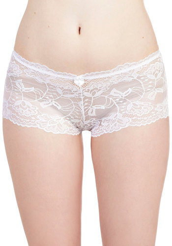Delight in Donning Undies in White - White, Solid, Lace, Sheer, Wedding, Bride, Vintage Inspired, Variation