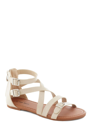 Seafoam the Sights Sandal in Beige - Flat, Faux Leather, Tan, Solid, Buckles, Summer, Casual, Beach/Resort, Variation