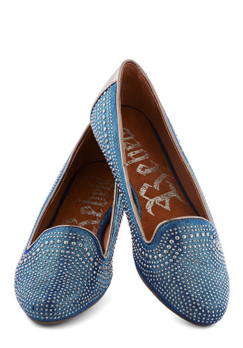Twinkling Toes Flat - Blue, Studs, Menswear Inspired, Flat, Faux Leather, Copper, Solid, Casual