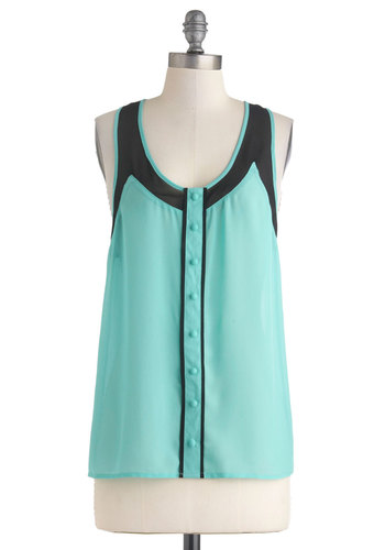 Hello to You! Top - Solid, Buttons, Work, Sheer, Mid-length, Mint, Black, Casual, Racerback, Summer, Scoop, Travel