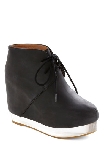 Skating On Twin Ice Wedge by Jeffrey Campbell - Black, Solid, Wedge, High, Leather, Girls Night Out, Minimal, Platform, Lace Up