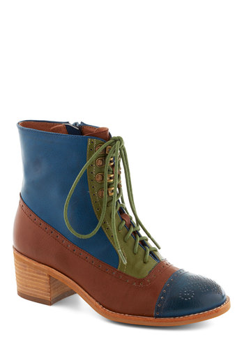 Route of the Matter Boot in Blue by Jeffrey Campbell - Blue, Green, Brown, Solid, Cutout, Colorblocking, Chunky heel, Casual, Menswear Inspired, Vintage Inspired, Steampunk, Faux Leather, Lace Up, Variation, Mid, Fall
