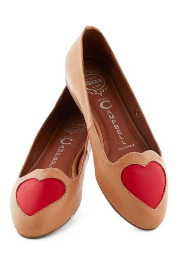 Heart to Miss Flat by Jeffrey Campbell - Tan, Red, Solid, Flat, Leather, Cutout, Work, Casual, Valentine's