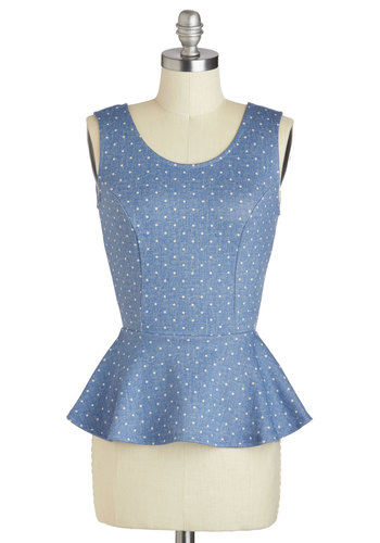 Denim Darling Top - Blue, Polka Dots, Bows, Peplum, Tank top (2 thick straps), Mid-length, Backless, Party, Daytime Party, Denim, Scoop, Summer, Blue, Sleeveless