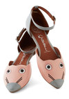 Creature's Pet Flat by Jeffrey Campbell - Pink, Grey, Print with Animals, Quirky, Flat, Leather, Novelty Print, Party, Casual, Kawaii
